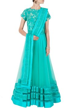 Aquamarine lace embroidered tulle anarkali BY JADE.