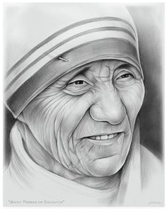 Mother Teresa Pencil Drawing is among the easiest and efficient artistry, which you can get as a pass period as well as total time hobby or task. Pencil Sketch Portrait, Portrait Sketches, Portrait Art, Art Sketches, Pencil Sketch Art, Realistic Pencil Drawings, Cool Art Drawings, Pencil Art Drawings, Christian Drawings
