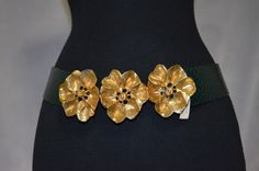 Vintage Green Statement belt with Wide Oversized by FlanneryCrane