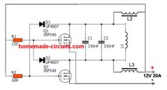 In this post we learn 2 easy to build induction heater circuits which work with high frequency magnetic induction principles for generating substantial magnitude of heat over a small specified […] Electronic Circuit Projects, Electronic Engineering, Diy Electronics, Electronics Projects, Simple Circuit Projects, Power Supply Circuit, Induction Heating, Led Projects, Electronic Schematics