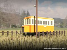 夏の午後、片田舎の終着駅で憩う軽便ガソリンカー(3ds Max) Japan's old-time light rail gasoline driven car by 3ds Max: taking a rest at tiny terminus station in country side