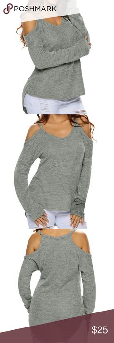 Gray Cold Shoulder Light Knit Sweater I  💘 this combination of sexy and comfy casual.  For casual days and laid-back occasions, this tunic sweater offers a playful sexy look with an arched hem and cut-out details. With its relaxed, loose fit, the pullover sweater features long sleeves, a round neckline, and cut out shoulders that add a sexy touch!   Perfect for pairing with skinny jeans or leggings.  Pair with my Distressed Dark Denim Jeans! (See other listings :)  Available in Grey, Black…