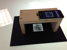 DIY film scanner using a wooden stand and smart phone.