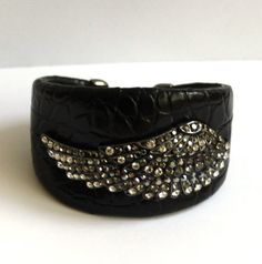 Butler and Wilson Pewter Crystal Wing Leather Cuff Bangle NEW on eBay!