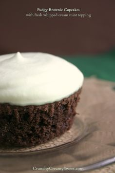 Fudgy Brownie Cupcakes with Mint Whipped Cream Topping by CruncyCreamySweet.com