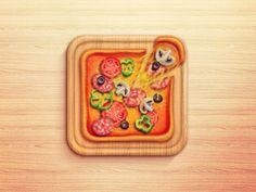Pizza by Tania Saenko in 30+ Beautiful Icon Designs