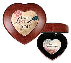 I Will Love You Woodgrain Finish Heart Jewelry Music Box Plays Tune Amazing Grace