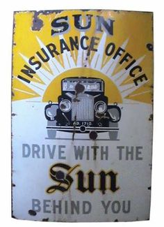 Sun Insurance Enamel Sign