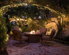 I love this outdoor area. The lights really make it come together!