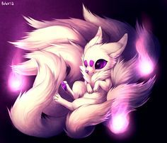 white nine tailed kitsune girl - Google Search