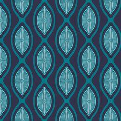 diatom algae ogee in blue fabric by dunnspun on Spoonflower - custom fabric