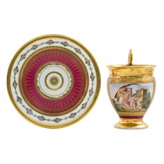 Stunning Paris tea cup & saucer, neoclassical scene _BM