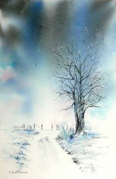 A landscape with bright tones - Aquarelle watercolor creation - - Watercolor Paintings Nature, Watercolor Painting Techniques, Watercolor Trees, Watercolors, Sunset Landscape, Abstract Landscape, Winter Scenery, Winter Art, Watercolor Paintings