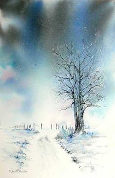 A landscape with bright tones - Aquarelle watercolor creation - - Watercolor Paintings Nature, Painting Snow, Watercolor Painting Techniques, Winter Painting, Watercolor Trees, Easy Watercolor, Winter Art, Watercolors, Sunset Landscape