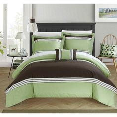Chic Home 4-Piece Sawyer Hotel Collection Striped Patchwork color block Queen Duvet Cover Set Green Shams and Decorative Pillows included