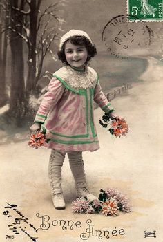 Bonne Annee!  Vintage French Christmas real photo postcard ~ girl with flowers, hand tinted.