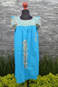 Chiapas Flowered Dress Huipil Dress Mexican Dress   Etsy Mexican Embroidered Dress, Embroidered Clothes, Flower Dresses, Blue Dresses, Short Dresses, Mexican Skirts, Mexican Outfit, Flower Shirt, Ethnic Dress
