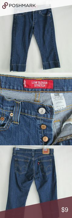 "Levi's Low Slouch Stretch CapriPants GUC - no stains or fraying Button fly Size 5 Jr. M Waist = 31"" Hip = 36"" Inseam = 20"" Rise = 10: Levi's Jeans"