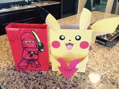 Pokemon and lego ninjago Valentine's box Ninjago Valentines, Pokemon Valentines Box, Valentine Boxes For School, Valentines For Mom, Valentines Day Treats, Valentine Crafts, Valentine Ideas, Craft Activities For Kids, Projects For Kids