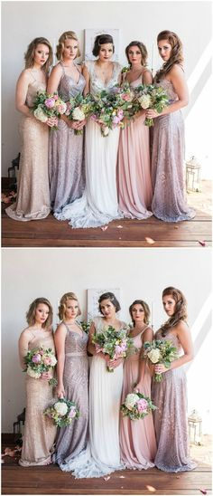 Beaded bridesmaid gowns, sparkly dresses, 1920's-inspired, Gatsby glam, wedding fashion // Tiffany Loera Photography