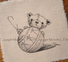 Teddy Bear Vintage Christmas Ornament Original Pen Ink Fabric Illustration Quilt Label by Michelle Palmer December 2013