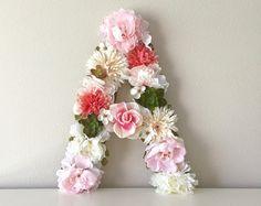 LARGE Flower Letter 19 24 Floral Letter Baby Girl by BegoniaRoseCo