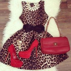 NEED! Leopard print dress with bow belt, statement necklace,  and red accessories.  Sassy and sophisticated!  :: Animal Print:: Pin Up Style :: Retro Fashion:: Vintage with a modern twist