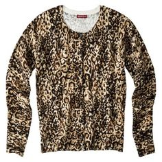 Merona Womens Ultimate Crewneck Cardigan Sweater - Assorted Prints - apparently leopard is in for fall. bought this today and love it.