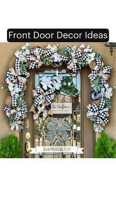 Excited to share this item from my shop: Buffalo Check Garland and Wreath, Everyday Front Door Garland and Wreath Set, Monogram Wreath, Farmhouse Front Door Swag Elf Decorations, Christmas Door Decorations, Christmas Swags, Rustic Christmas, Christmas Crafts, Front Door Decor, Wreaths For Front Door, Door Wreaths, Front Doors
