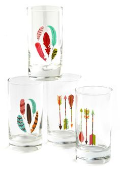 This quartet of clear glass tumblers feature four distinct designs of colorful feathers and sleek arrows, making them a real bull's-eye find.