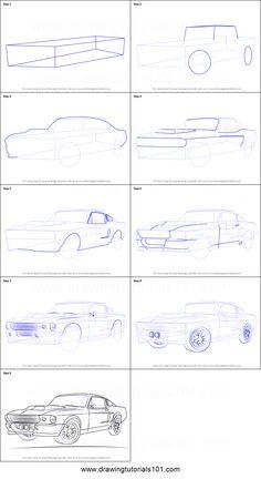 Car Drawing Easy, Car Drawing Pencil, Cool Car Drawings, Easy Drawings, Car Design Sketch, Car Sketch, Mustang Drawing, Drawing Techniques, Drawing Tips