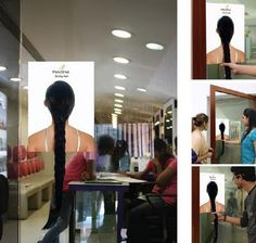 Pantene Door Handle: A poster with a real plait attached from the back of a head was stuck on the doors of malls, supermarkets and beauty salons. Each time the customer pulled the hair handle, it communicated in an interesting manner the benefits of Pantene shampoo.