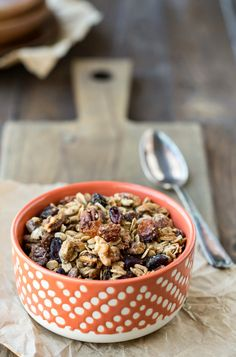 Nutty granola recipe makes a hearty, healthy, gluten free, vegan breakfast or snack. Full of fruit, nuts, and good-for-you ingredients.