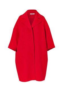Jil Sander Fire Red Oversized Wool Coat