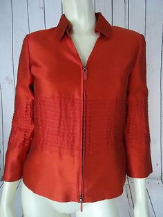 WORTH Blazer Coat 2 Red Cotton Slub Silk Zip Front Fit & Flare Pintuck Pleats