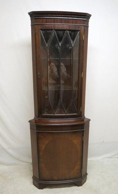 Antique Inlaid Mahogany China Cabinet By HarmonyGroveAntiquez
