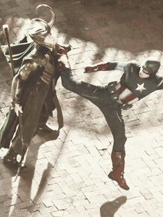"""""""Nice dance movies, Cap, but-"""" """"heheh, thanks!"""" """"but next time try your 'judo dancer kick' NOT into my neck, mortal!"""""""