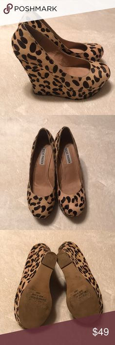 Steve Madden Calf Hair Leopard Wedges Heels - 8 Please feel free to message me with any questions or concerns that you may have.  No trades.  All offers are considered and appreciated.  Thanks for looking!! Steve Madden Shoes Wedges