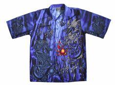 Shaolin Size XL Blue Black Dragon Fireballs Button Up Short Sleeve Shirt #SHAOLIN #JAPANESE