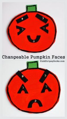 Make a changeable cardboard pumpkin face to help teach children about feelings and empathy Halloween Activities, Craft Activities For Kids, Halloween Crafts, Fall Preschool, Preschool Crafts, Preschool Education, Easy Crafts For Kids, Diy For Kids, Teaching Emotions