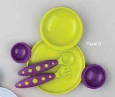 Boon Groovy Intelocking Plate   Bowl Set With Modware In Kiwi   Grape. See More Feeding Utensils at http://www.ourgreatshop.com/Feeding-Utensils-C1136.aspx