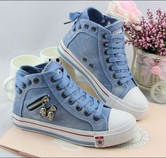 8cb246507092c9 Unique Denim Skull Lace Up High Sneakers Shoes - Oh Yours Fashion - 1