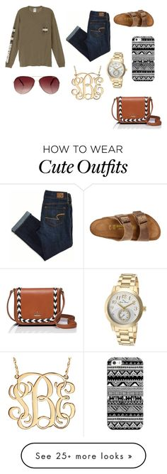 """""""Untitled #207"""" by rachellovesturtles on Polyvore featuring American Eagle Outfitters, Victoria's Secret, Birkenstock, Casetify, Lucien Piccard, Kate Spade and MINKPINK"""