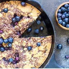 Im sort of in love with this skillet blueberry coffee cake NEW RECIPE on the blog today Get the recipe for Skillet Blueberry Coffee Cake here