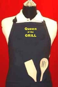 """Queen of the Grill"" apron - Navy Blue Adjustable W/pockets Embroidered in the USA, By G4FF - Aprons for Men and Women, Aprons for Women Funny, the Perfect Gift for Your Greatest Friend in Your Life G4FF,http://www.amazon.com/dp/B00FNVB5N2/ref=cm_sw_r_pi_dp_F0vytb1E3KTHFDX1"