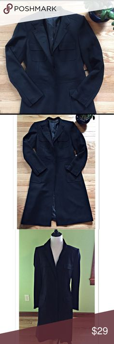 """Anne Klein Suit Long Black Jacket Beautiful long black jacket by Anne Klein Suit. Featuring hidden buttons down the front and 4 pockets, this jacket is 1100% polyester. A size 6, it measures 16"""" across the shoulder; 18"""" across the bust; 41"""" length; 24"""" sleeve. EUC Anne Klein Jackets & Coats Trench Coats"""