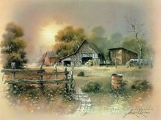 Landscape Drawings, Watercolor Landscape, Landscape Art, Landscape Paintings, Watercolor Paintings, Barn Pictures, Pictures To Paint, Pintura Colonial, Images Vintage