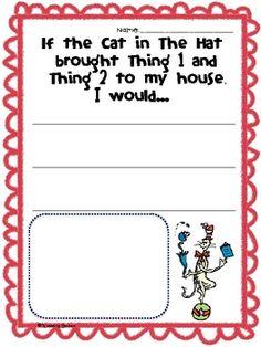 Cat in The Hat Writing Prompt Writing Prompts Romance, Writing Prompts Funny, Writing Prompts For Kids, Picture Writing Prompts, Kindergarten Writing Prompts, Kindergarten Lessons, Kindergarten Crafts, Dr Seuss Activities, Book Activities