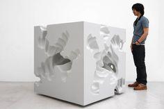 """DANIEL ARSHAM """"Six erosions to the center (3)"""" 2010  Sculpture Foam, plaster, paint / Polystyrène, plâtre, peinture  48 x 48 x 48 inches / 122 x 122 x 122 cm  unique."""