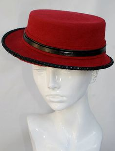 Red felt hat for sale online. This hat is a perfect womens accessory for winter. Done from fur felt with trimming. 22 1/2 inches.    I use in